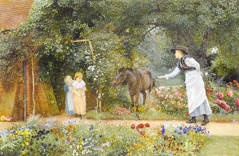 Edward Killingworth Johnson - Feeding a pony in a Surrey garden (1879)